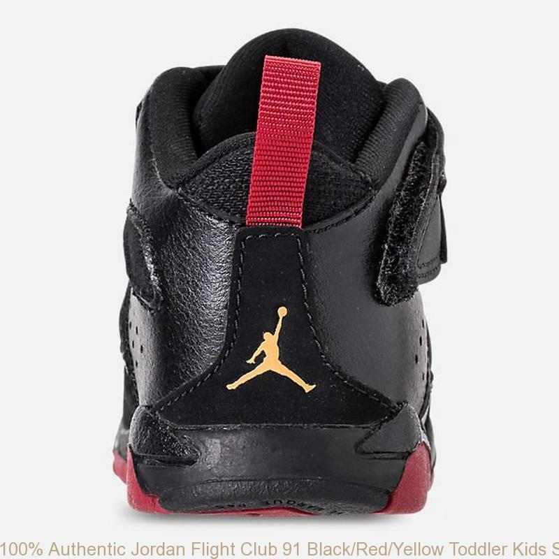 newest bdf98 59c5d 100% Authentic Jordan Flight Club 91 Black/Red/Yellow Toddler Kids Shoe -  super cheap jordan shoes - R0179