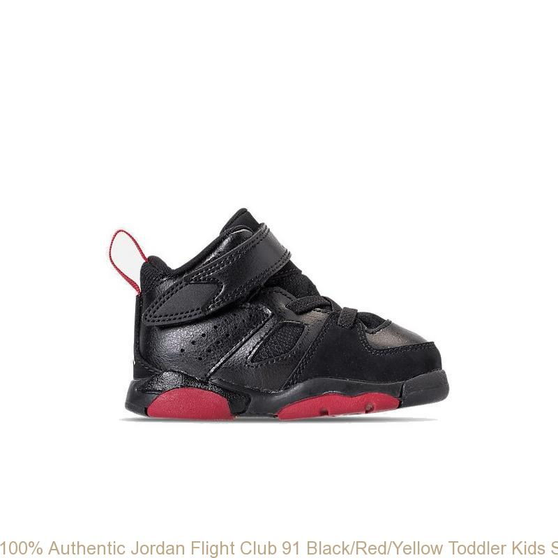 newest bc145 973f3 100% Authentic Jordan Flight Club 91 Black/Red/Yellow Toddler Kids Shoe -  super cheap jordan shoes - R0179