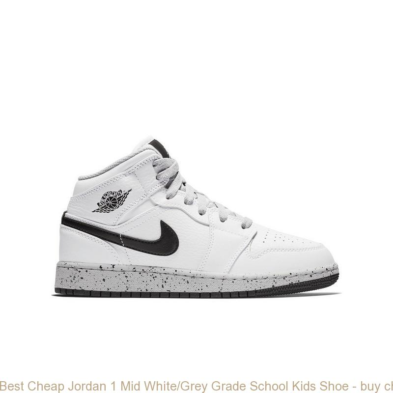 32be9a07a472 Best Cheap Jordan 1 Mid White Grey Grade School Kids Shoe – buy ...