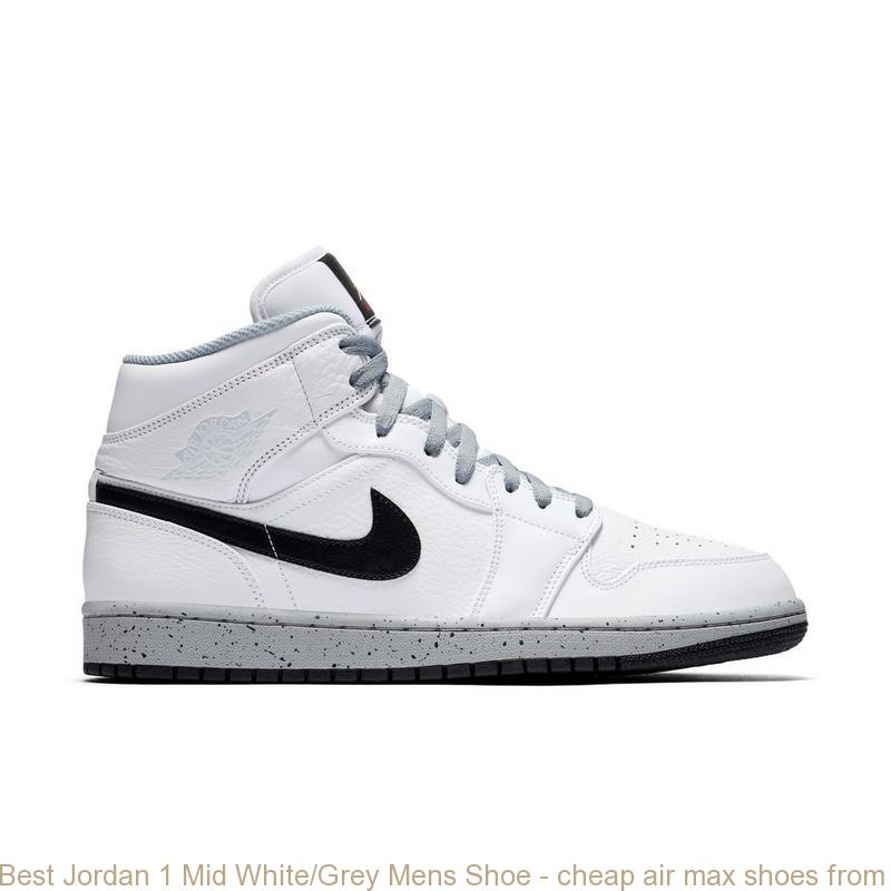 Best Jordan 1 Mid White/Grey Mens Shoe