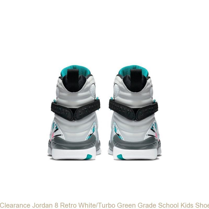 69ff0bb516c Clearance Jordan 8 Retro White/Turbo Green Grade School Kids Shoe ...