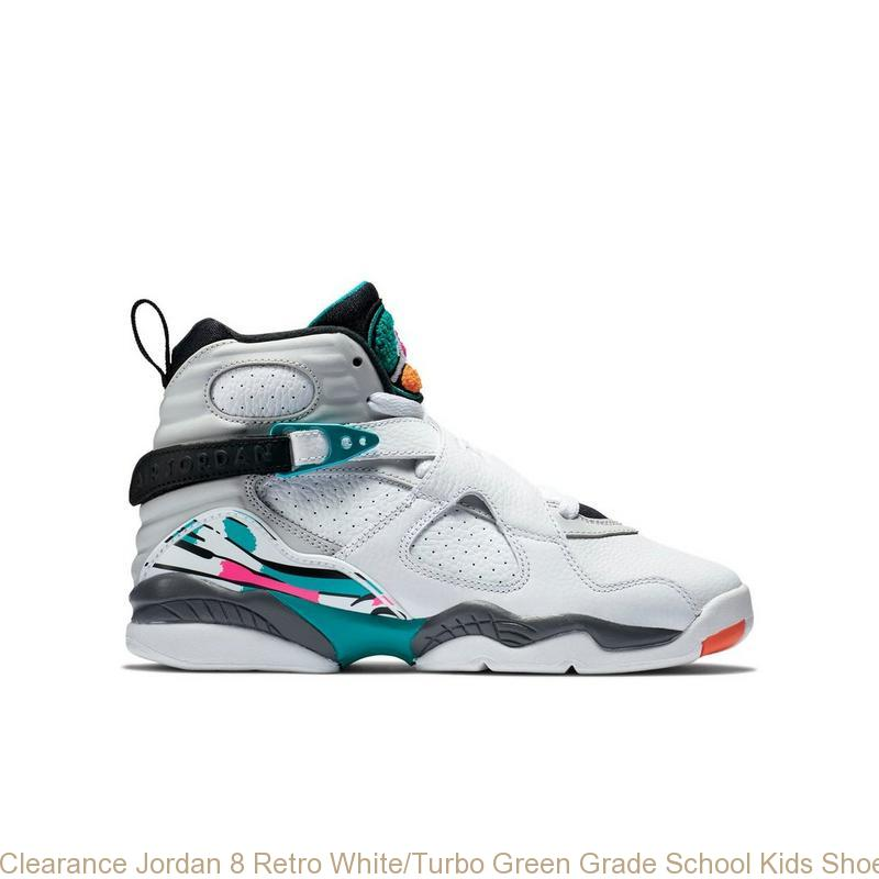 69ff0bb516c Clearance Jordan 8 Retro White/Turbo Green Grade School Kids Shoe ...