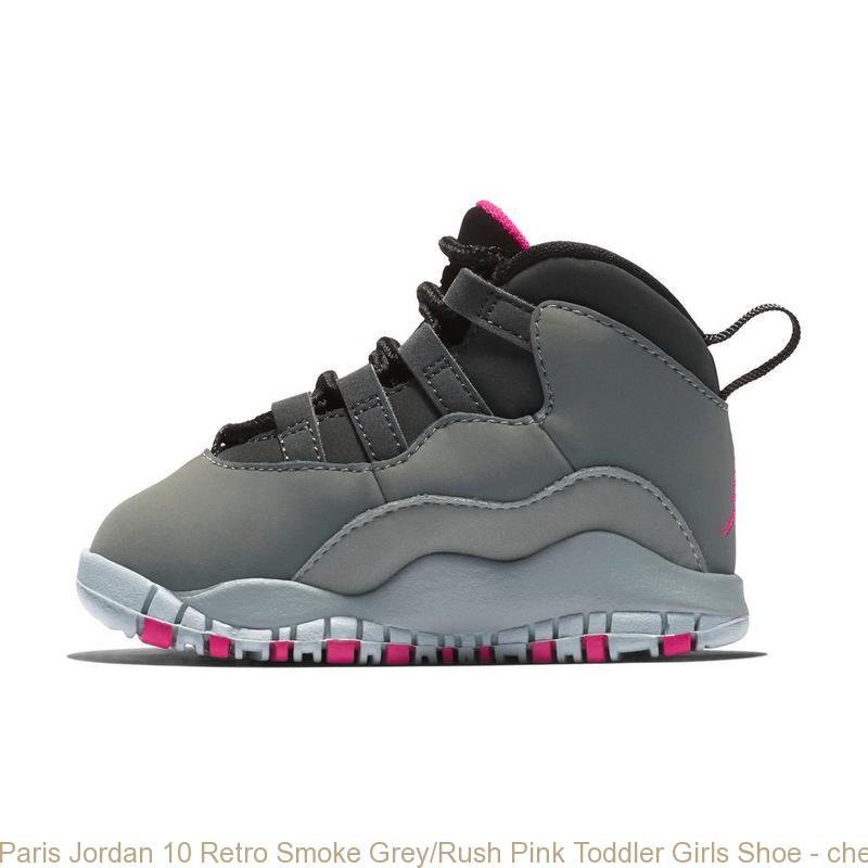 Paris Jordan 10 Retro Smoke Grey Rush Pink Toddler Girls Shoe ... 994b481ff